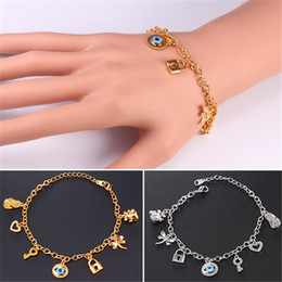 Wholesale Lobster Key Chain - U7 New Evil Eye Link Chain Charms Bracelet 18K Gold Plated Key Lock Bear Hearts Dragonfly Charm Bangles Bracelet For Women Jewelry H5184