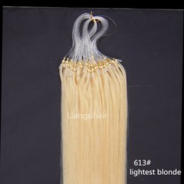"Wholesale Micro Ring Remy Hair Extensions - Human Hair Brazilian virgin Remy Bundles 16""-26"" 100s 613# Lightest Blonde Loop Micro Ring Hair Extensions Straight Brazilian Hair Products"