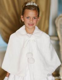 Wholesale Cape Jackets For Kids - 2016 Princess Girls Cape Wedding Cloaks Faux Fur Jacket For Winter Kid Flower Girl Shrug Outerwear Coats kids frock designs