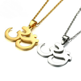 Wholesale Ohm Necklace - BC Circle Aum Ohm Om Yoga Buddha Namaste Pendant Stainless Steel Yoga Necklace With Ball Chain