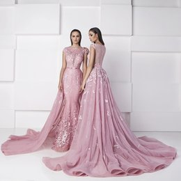 Wholesale Detachable Skirt Purple Dress - Zuhair Murad Candy Pink Mermaid Evening Dresses with Detachable Over skirts 2016 Boat Neck Cap Sleeves Lace Court Train Arabic Formal Gowns