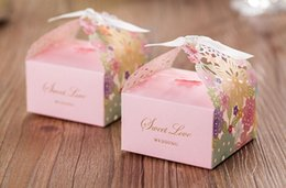 Wholesale Paper Cut Outs - Butterfly & Sunflower Laser Cut Paper Favor Holders Hollow out wedding favours gift boxes Wedding Gift Jewely Box Wedding Favors holders
