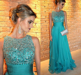 Wholesale sexy sequin dress for cheap - Dresses Party Evening Crew Beads Crystals Chiffon Cheap Evening Gowns Sleeveless Tiered Floor Length Back Zipper Party Dresses For Women