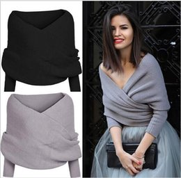 Wholesale Sweater Red Women Sexy - Sexy Women Fashion Off Shoulder Twist Knit Sweater Long Sleeve Jumper Crop Top 4color free shipping