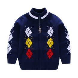 Wholesale Handsome Mixed Boys - 2017 Autumn Winter Children Boys sweaters Boy's Handsome Contrast Knit Zip-up Cardigan kids clothing cardigan sweaters