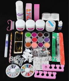 Wholesale 3d Acrylic Liquid - Wholesale-Primer + Pro Acrylic 6 Colored Glitter Powder Liquid Set Nail Art Tip 3D Kit and Tools