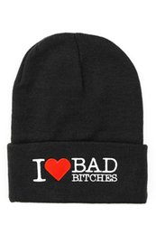 Wholesale Beanies Bboy - 2015 Newest i love bad bitches bboy Beanie Caps Acrylic Knitted Hat Skull Cap Hiphop Hat 5pcs Christmas Gift XMAS Present