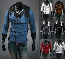 Wholesale Men Winter Cardigans - 2017 Autumn Winter Clothes For Men Hoodies And Sweatshirts Fit Slim Hoodies Slant Zip Patchwork 7 Colors US Size XS-XL