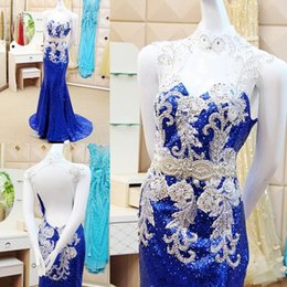 Wholesale Host Green - Sparking Sequined Mermaid Prom Dresses 2016 Royal Blue Party Dress Cocktail Host Roya Backless Sexy Custom Made Modern