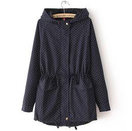 Wholesale Plus Size Polka Dot Coat - Wholesale- 4XL 2017 Women Trench Coat Spring Autumn Cute Polka Dots Hooded Trench Abrigos y Chaquetas Fashion Plus Size Coat