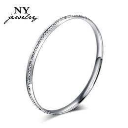 Bracelets en platine en Ligne-Joli bracelet jonc pour femme dame imitation diamant pierre platine plaqué rond mode fantaisie