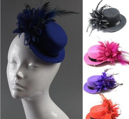 Wholesale Wedding Bride Hair Clips - Women bride hat cap wedding ribbon gauze lace feather flower Mini top hats fascinator party hair clips caps millinery charm hat hair jewelry