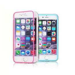 Wholesale Iphone Flip Up - For iPhone 6 Plus Transparent Case Clear Hybrid Soft TPU Wrap up Flip Case for Samsung Galaxy note 4 3 2 S5 S6