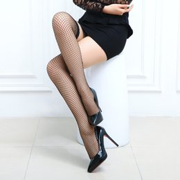 Wholesale Girl Sheer Lingerie - Wholesale-High Stockings1pair Fashion Sexy lingerie Ultrathin Top Sheer Silk Girls Fishnet Thigh like Leggings