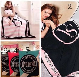 Wholesale Wholesale Rugs - Pink Letter Blanket Outdoor Pads Soft Beach Towel Blankets Air Conditioning Rugs Comfortable Carpet High Quality 130*150cm Best Gift Towl
