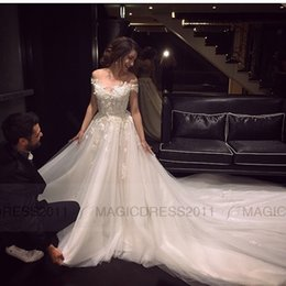 Wholesale Sexy Cowl Back Dress - 2016 Lace Wedding Dresses Elegant Bateau Bridal Gowns A-Line Appliques Short Sleeve Wedding Gown Court Train Bridal Dress Overskirts Arabic