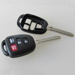Wholesale Toyota Camry Key Fob Cover - High quality car key blank for toyota 4 button replacement remote key shell FOB key cover free shipping