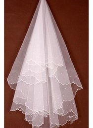 Wholesale Tulle Pearls Trim - Gorgeous 1T Tulle Pearl Trim Edge Accessories Beaded Wedding Bride Veil Bridal Veils 2016 in stock