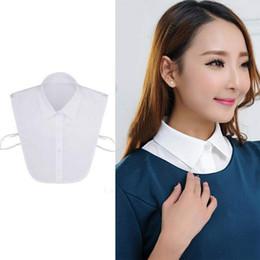 Wholesale Womens Black Neck Tie - Wholesale- Unisex Fake False Lapel Half Shirt Style Blouse Detachable Removable Collar Men Womens Accessories Neck Decor Cotton Black White