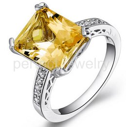 Wholesale Natural Citrine Rings - Citrine ring Natural real citrine ring 925 sterling silver rings Fine jewelry Free shipping Perfect jewelry Gemstone ring DH#15082101