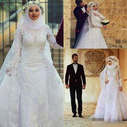 Wholesale Islamic Muslim Wedding Dresses - 2016 Long Sleeves Lace Muslim Mermaid Wedding Dresses Arabic Islamic Hijab Wedding Dress High Neck Bridal Gowns With Long Train Appliques