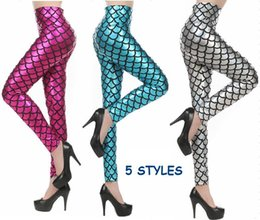 Wholesale American Apparel Style - New Sexy Women Mermaid Leggings Fish Scale Printed Sport Female Fitness Leggings American Apparel 5 colors
