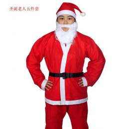 Wholesale Christmas Suits For Men - 2016 Christmas Santa Claus Costume Adults christamas suit adults Christmas Costume Christmas Party Costume for free shipping