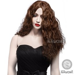 Wholesale long realistic wigs - Free Shipping Stylish ladies wavy Scroll fluffy wig girl realistic soft long curly Brown wigs cute ladies cosplay hair wigs
