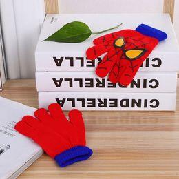 Wholesale Spider Man Gloves - Children Boys Girl Spider-man Knitted Crochet Finger Gloves Cartoon Big Kids Winter Warm Gloves 5-12Years XMAS Gifts Mittens Red Blue A7845