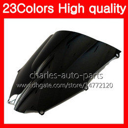 Wholesale Windshield Kawasaki - 23Colors Motorcycle Windscreen For KAWASAKI NINJA ZX9R 00 01 ZX-9R ZX 9 R 00 900CC ZX 9R ZX9R 2000 2001 Chrome Black Clear Smoke Windshield