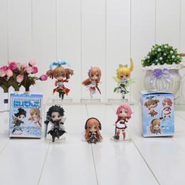 Wholesale Asuna Sword Art - 6pcs set Sword Art Online 6CM Fairy Dance Kirito Asuna Lefa PVC Action Figures Toys
