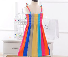 Wholesale Summer Rainbow Beach Dress - kids rainbow girls dresses summer boho sleeveless beach dress bohemian dress girls baby girl floral cotton princess dress free shipping
