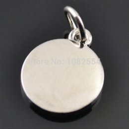 Wholesale Round Disc Charm - 20 pcs lot Silver Plated Floating Blank Stamping Tags Round Disc Pendant Charms For Living Locket pendant crown
