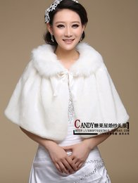 Wholesale Coat Winter For Bride - Free Size Stock New White Wedding Jacket Wrap For Bride Faux Fur Long Wedding Wraps Plus Size Coat Shawls For Dresses