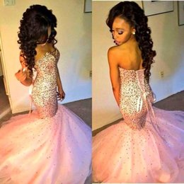 Wholesale Royal Blue Rhinestone Crystal Ribbon - Sparkly Pink Sweetheart Prom Dresses with Crystal Rhinestones 2016 Sexy Pageant Dresses Mermaid Lace Up Evening Gowns Party Dresses BO8370