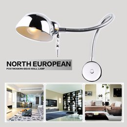 Wholesale Free Flexible Tube - Wholesale-Free shipping swing wall lamps Modern led ajustable wall sconces light flexible tube reading bathroom mirror bedroom wall lights