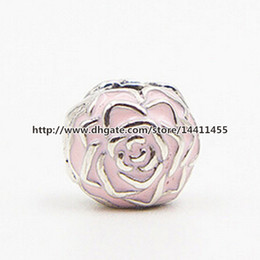 Wholesale Glass Bead Garden - High-quality Authentic S925 Sterling Silver Rose Garden Clip Charm Bead with Pink Enamel Fits European Pandora Jewelry Bracelets & Necklaces