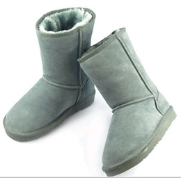 Wholesale Light Blue Suede Boots - 2015 Hot Women's Classic short style snow boots Winter boots Warm certificate dust bag