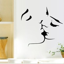 Wholesale Lovers Wall Decal - Romantic Lovers Kissing Wall Decals Living Room Bedroom Removable Wall Stickers Murals