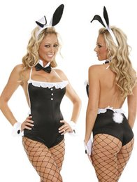 Wholesale Strapless Bunny Costume - Sexy Bunny Strapless jumpsuit free shipping uniformes women adult sexy costume animal cosplay (exclude the Net Pantyhose) 8555