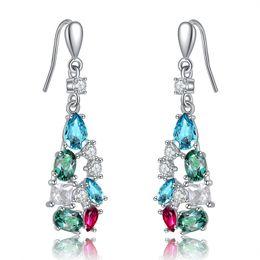 Wholesale Fashion Long Dangle Earrings - ORSA jewelry Fashion New Arrival Colorful Austrian Zircon Silver Earring Women Earring Long Woman Earring OE109