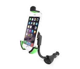 Wholesale Android Usb Mount - Car Phone Holder with Dual USB Charger Mount Stand for Apple Iphone Samsung IOS Android Smartphones HC84K