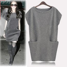 Wholesale Usa Fashion Sexy - A025 M - 4XL Plus Size Women Sexy Dress Pockets Batwing the USA New Fashion Autumn Thicken Ribbed Cotton Loose Knee Length Dresses
