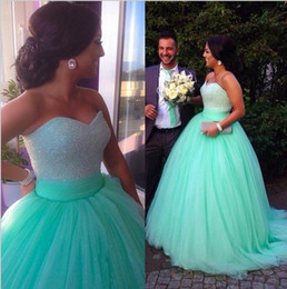 Wholesale Beautiful Beaded Ball Gown - New Arrival 2015 Beautiful Mint Prom Dresses Sweetheart Floor Length Beaded Corset Tulle Ball Gown Prom Gowns Pageant Dresses EA0045