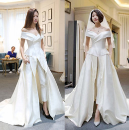Wholesale Custom Hot Pants - Hot Sale Two Pieces Jumpsuits Wedding Dresses A Line Off The Shoulder With Pants Bridal Gowns Sweep Train Satin Overskirt Vestido De Novia