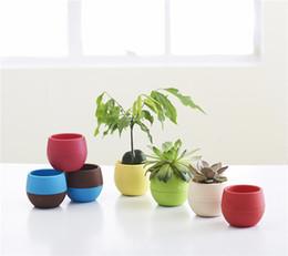 Wholesale Wholesale Plastic Bonsai Pots - 7pcs lot desktop green plants Flower pots planters Home decoration plastic flower vases Mini pots new year bonsai wedding decorative pots