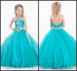 Wholesale Children Dance Images - 2017 Girls Ball Gown Prom Dresses Halter Neck Tulle with Crystal Beadings Blue Pageant Gowns Low Back Children Dance Dress