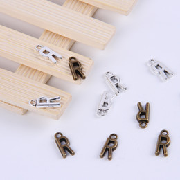 Wholesale Alphabet R Charms - 2015New fashion antique silver copper plated metal alloy hot selling A-Z Alphabet letter R charms floating 1000pcs lot #018x