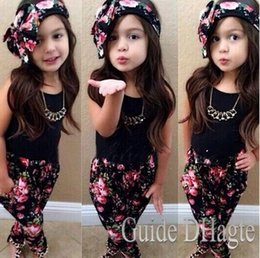 Wholesale Girls Baby Vogue - 2-7Y Girls Baby Clothing Sets 3PCS Sleeveless Shirt Tops + Floral Pants + Headband Vogue Clothes