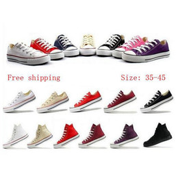 Wholesale Flat Tops Chocolate - Top Quality WOMENS MENS LOW HIGH SHOES SNEAKERS Flat Canvas Shoes Lace Up Casual Breathable shoes size EUR 35---45